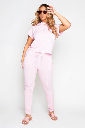 Light Pink Ribbed Boxy Tee & Trousers Co-ord
