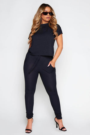 Black Ribbed Boxy Tee & Trousers Co-ord