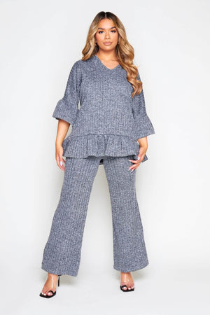 Grey Knit V Neck Frill Top & Wide Leg Trousers Co-ord