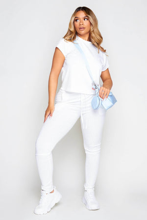 White Ribbed Boxy Tee & Trousers Co-ord