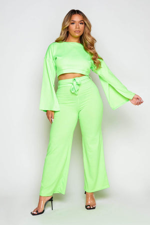 Neon Green Ribbed Crop Top & Wide Leg Trousers Co-ord
