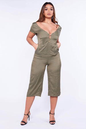 Khaki Off The Shoulder Buttoned Culotte Jumpsuit