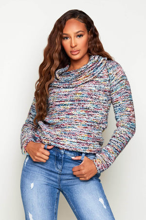 Multicoloured Knitted Cowl Neck Jumper