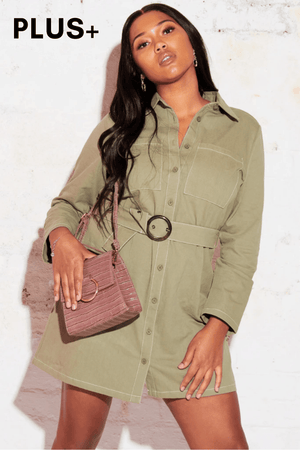 Plus+ Sage Green Denim Shirt Dress