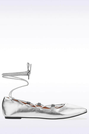 Silver Metallic Lace Up Ballet Pumps-Flats-Hidden Fashion