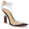 Black Sandals with Perspex & Wood Effect Heel