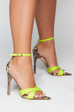 Yellow Cross Over Nude Snake Dagger Heels
