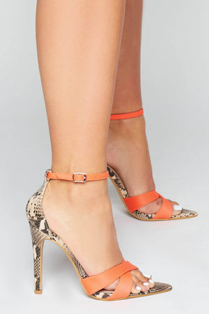Orange Cross Over Nude Snake Dagger Heels