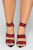 Red Patent Stripe Black Suede Dagger Heels