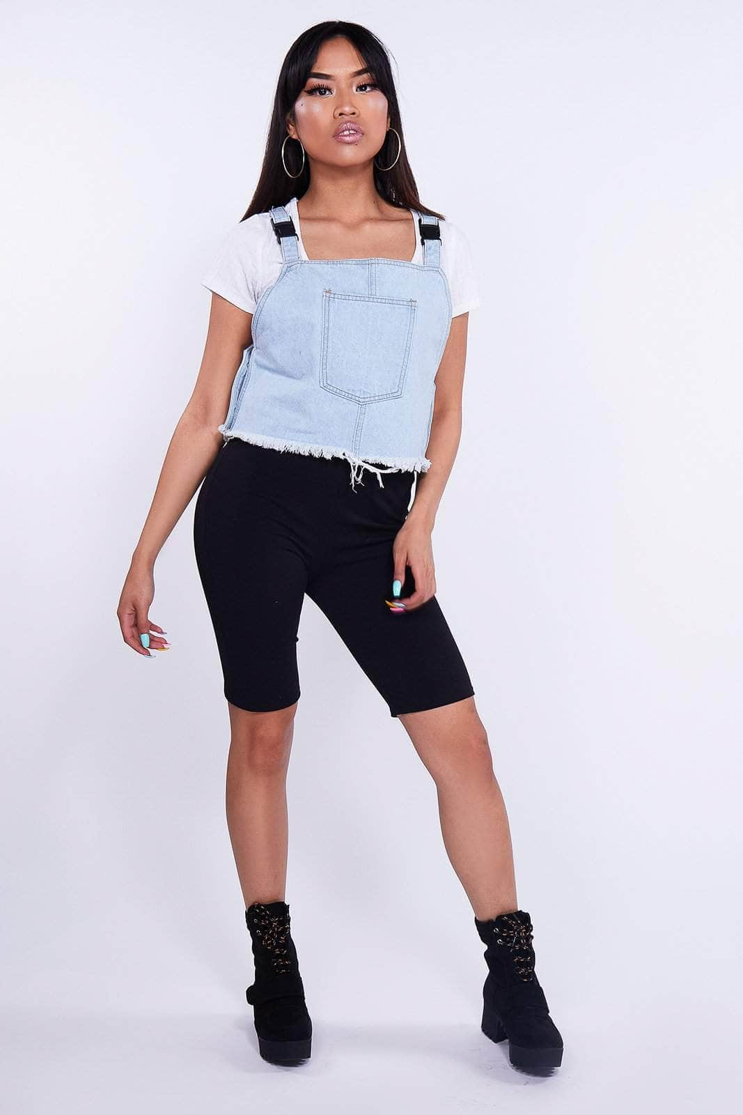 Light Blue Denim Buckle Crop Pocket Top