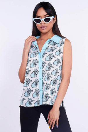Elephant Printed Sleeveless Shirt