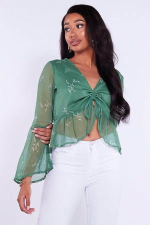 Green Printed Chiffon Top