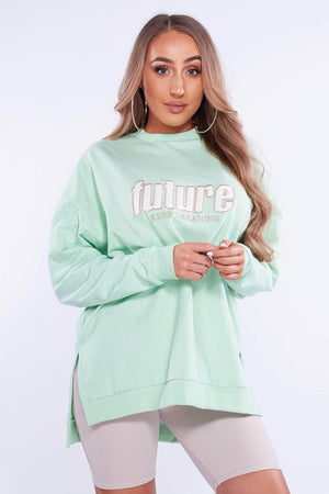 Lime Green Oversized 'Future' Sweatshirt