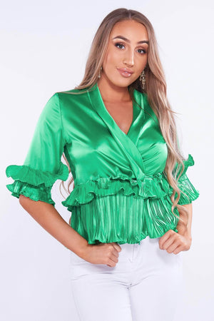 Green Silk Ruffle Jacket