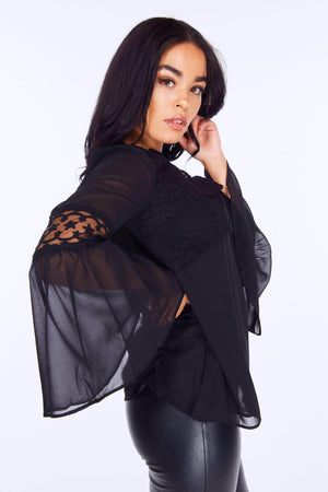 Black Lace Bell Sleeve Blouse