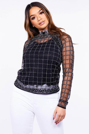 Black Checked Beaded Blouse