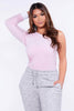 Light Pink Velour One Shoulder Top