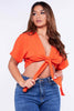 Orange Front Tie Crop Top