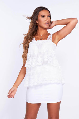 White Lace Tiered Panel Top