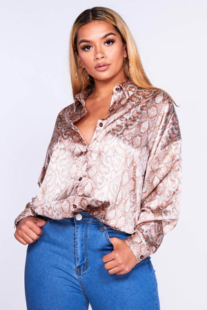 Brown & Pink Snake Satin Oversize Shirt