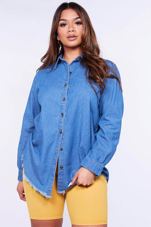 Denim Frayed Dipped Hem Shirt Dress