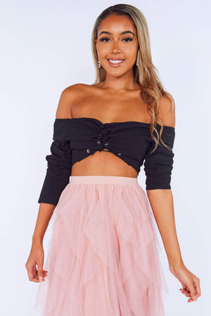 Black Lace Up Bardot Crop Top
