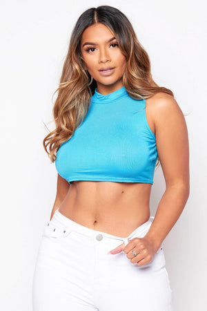 Turquoise High Neck Crop Top