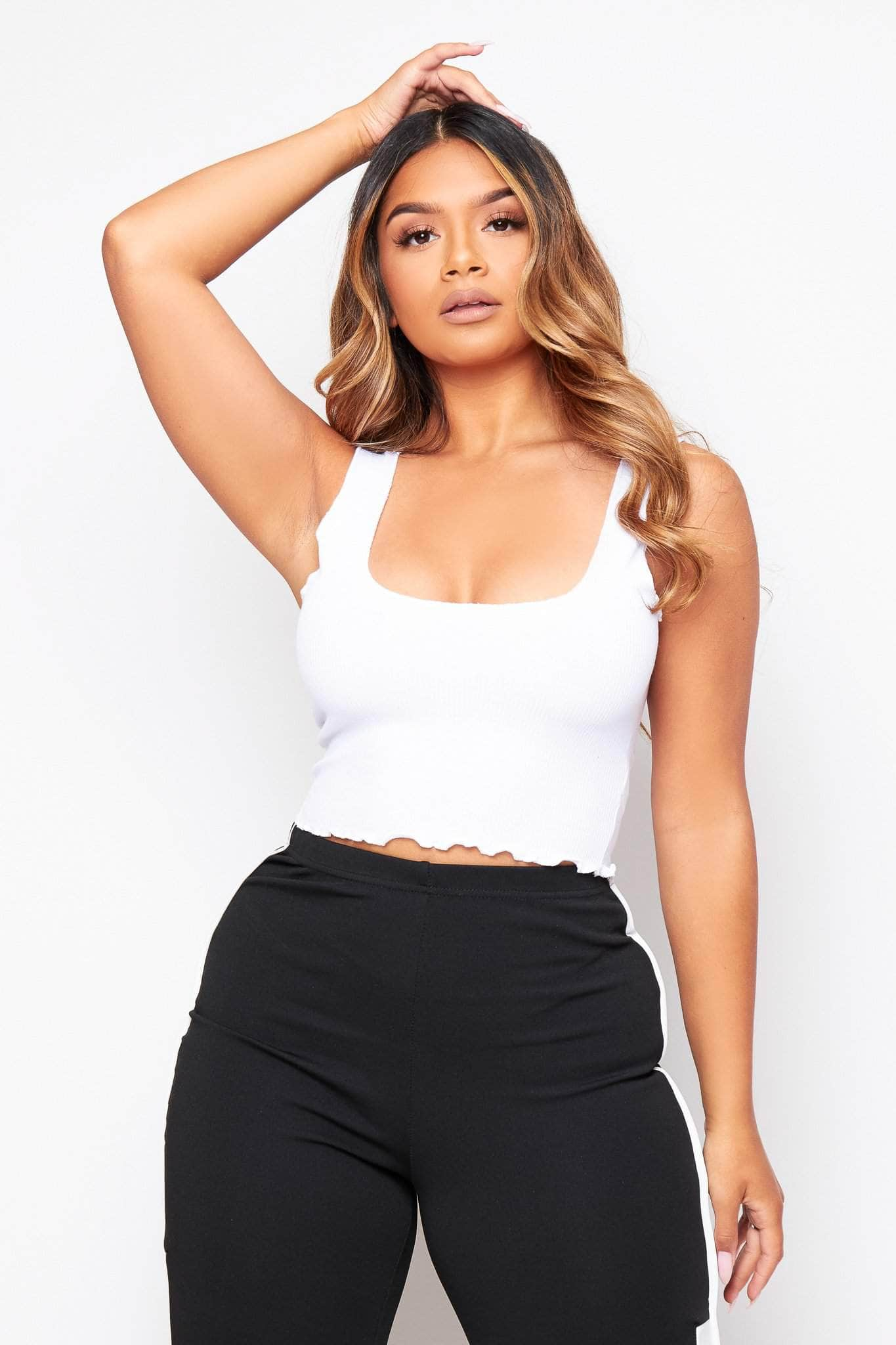 White Frill Cropped Top