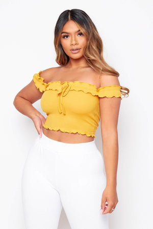 Orange Frill Off The Shoulder Crop Top