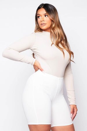 Stone High Leg Ribbed Bodysuit