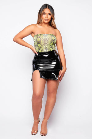 Black Vinyl Split Mini Skirt
