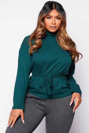 Green Ribbed Batwing Sleeve Top
