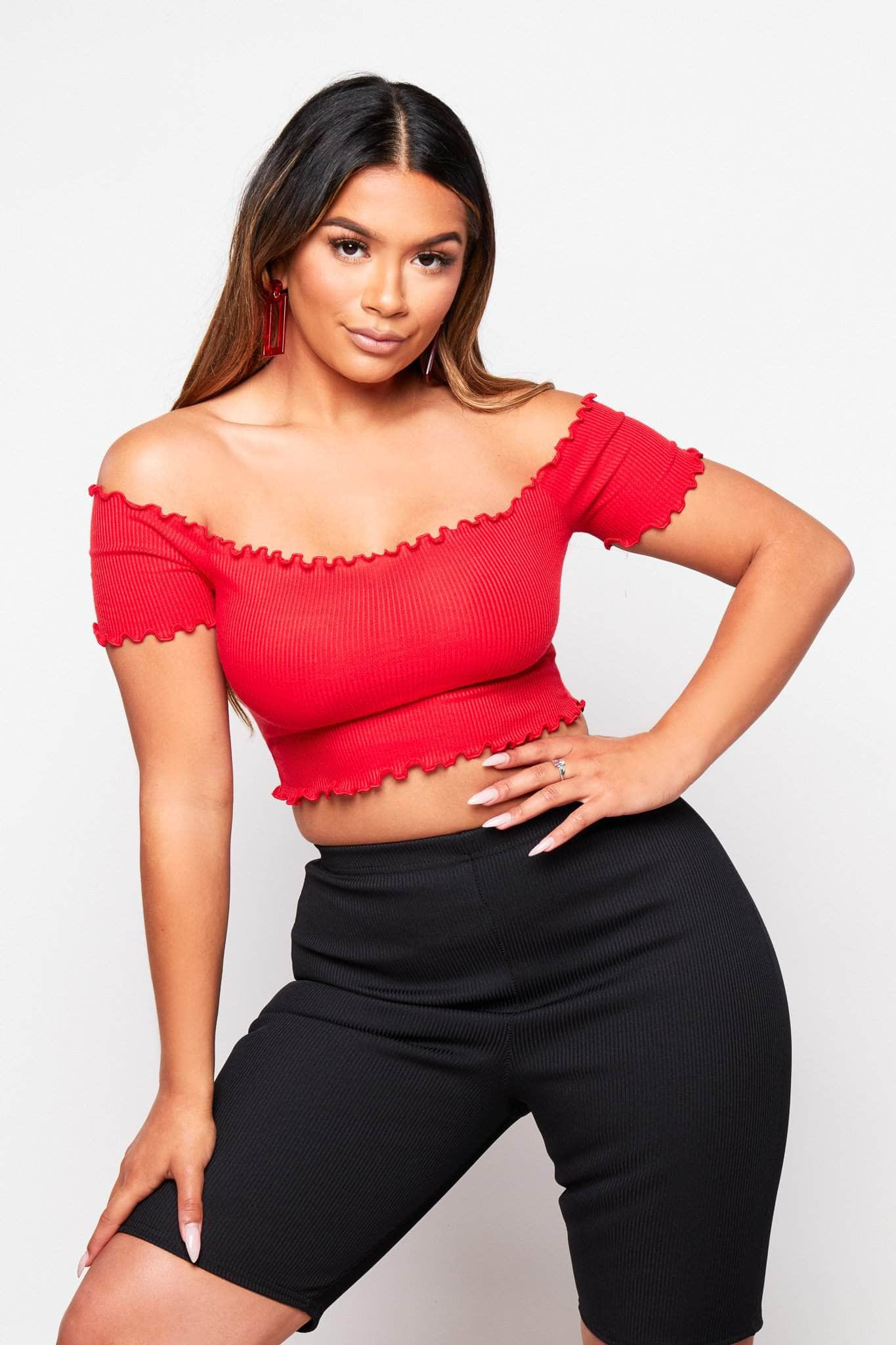 Red Frilly Crop Top