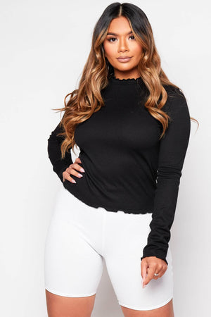 Black Ruffle Ribbed Long Sleeve Top