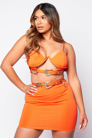 Orange V Bar Buckled Bralet Top