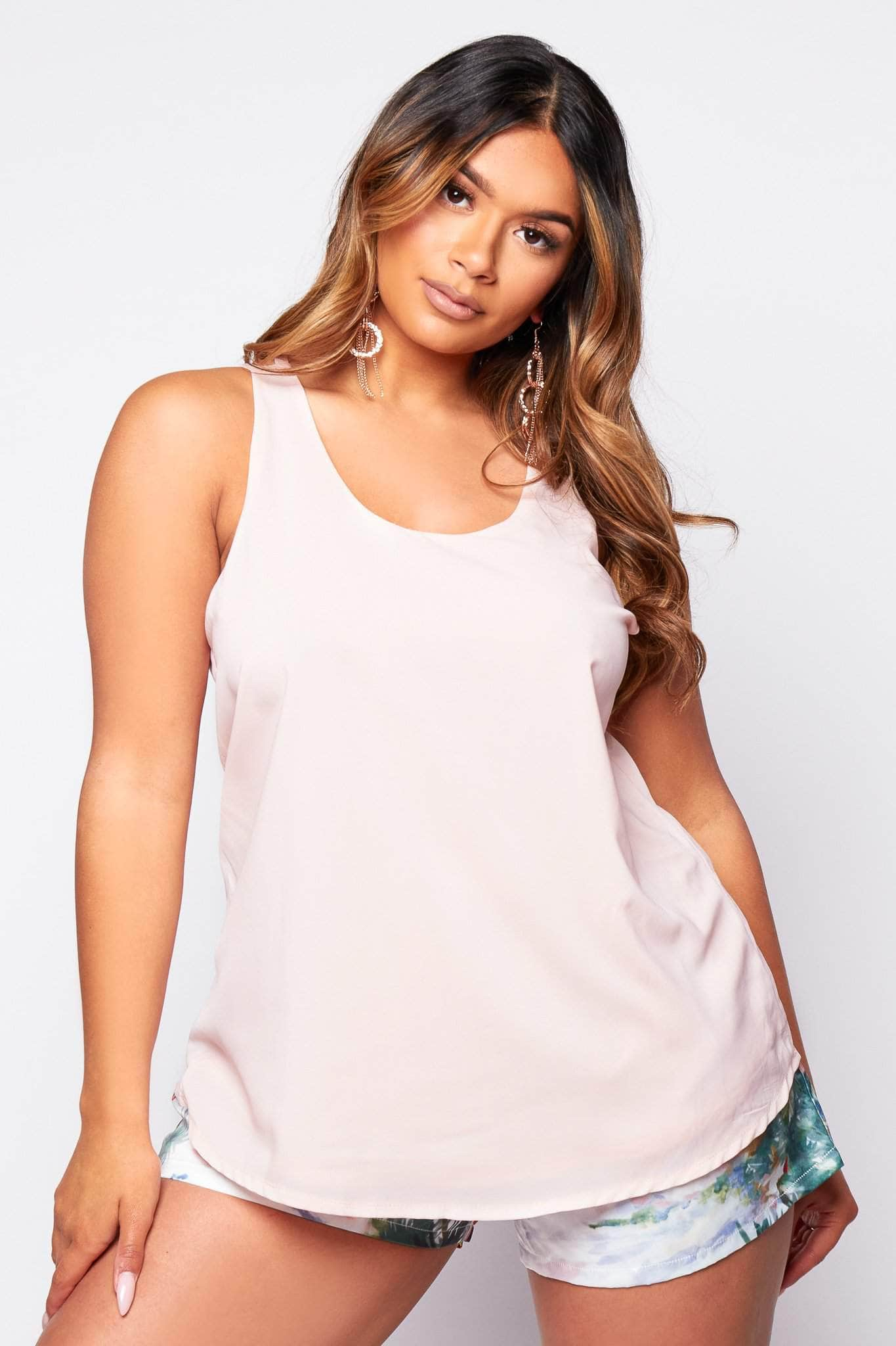 Pink Racer Back Chiffon Top