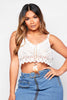 White Stripe Crochet Cami Crop Top