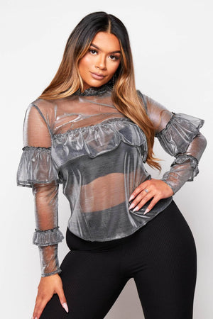 Black Metallic Mesh Ruffle Top