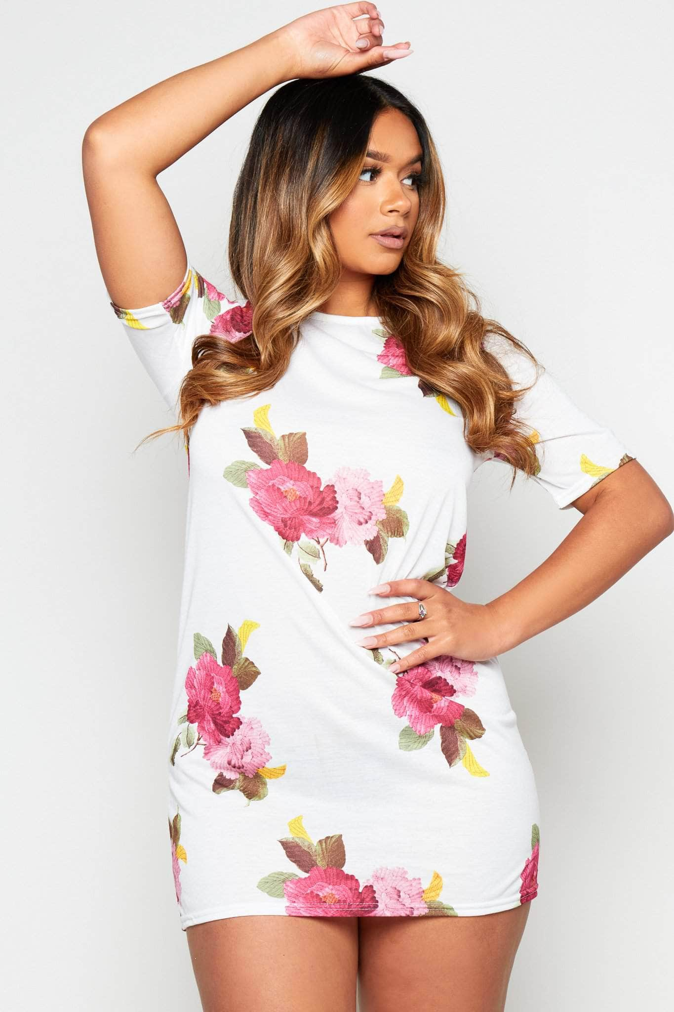 White Floral Jersey Shift Dress