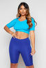 Sky Blue Ribbed Lycra Crop T-Shirt