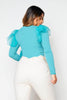 Sage Ribbed Top with Organza Ruffles