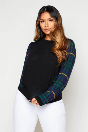 Navy Checked Contrast Round Neck Top