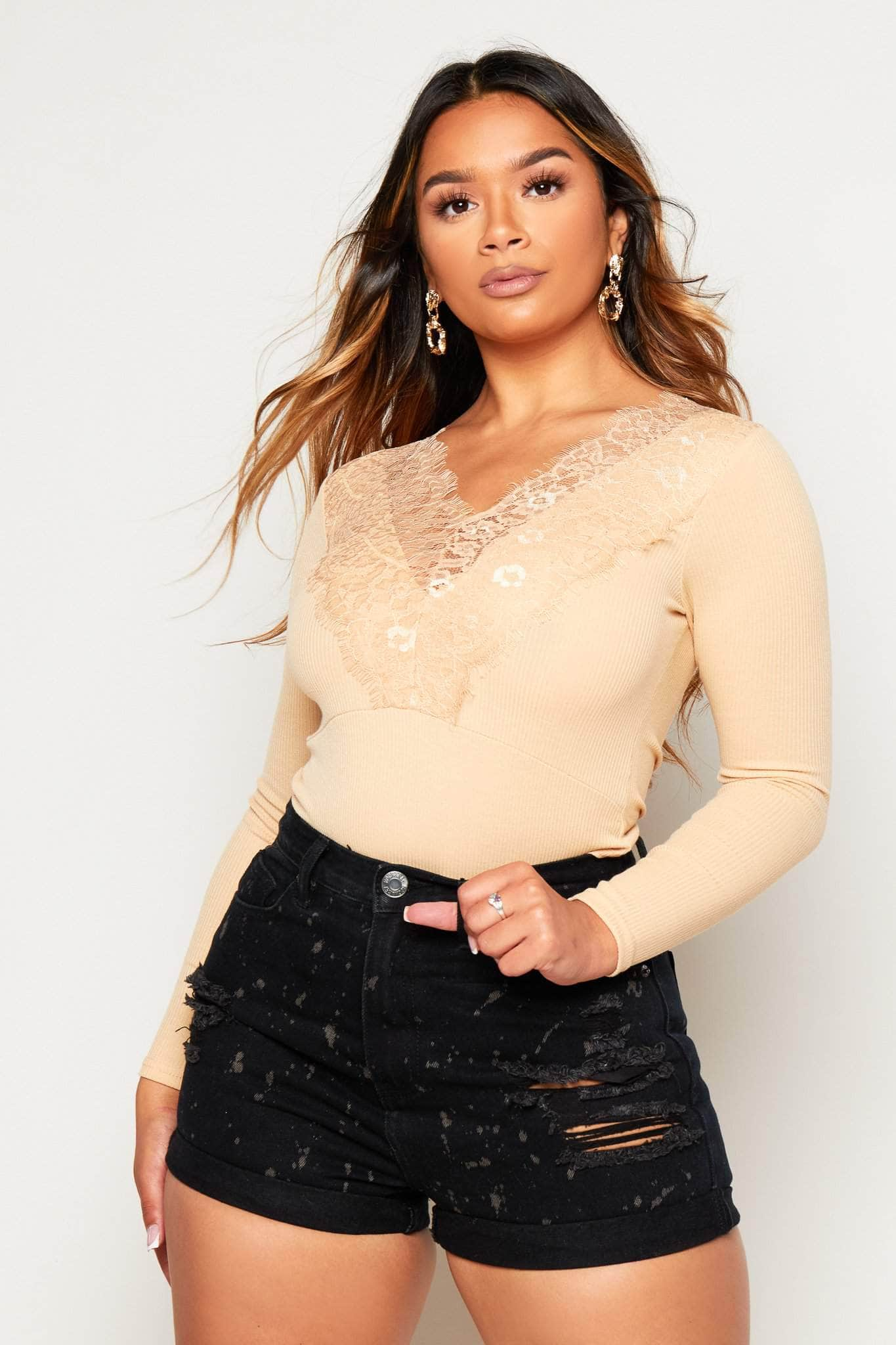 Camel Ribbed Bodysuit with Lace Trim