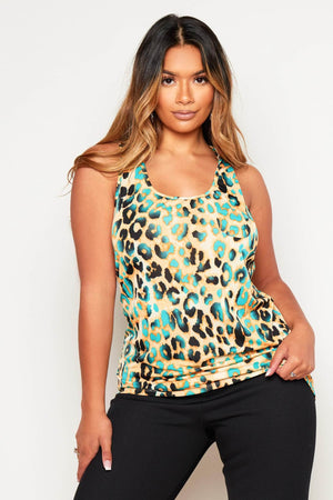 Orange Leopard Print Oversize Vest Top