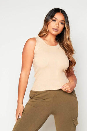 Beige Ribbed Cotton Vest Top