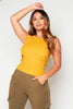 Mustard Ribbed Cotton Vest Top