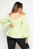 Lime Textured V Neck Balloon Sleeve Top