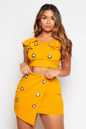 Mustard Frilly Buttoned Crop Top