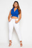 Royal Blue Blazer Style Sleeveless Crop Top