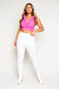 Neon Pink Blazer Style Sleeveless Crop Top